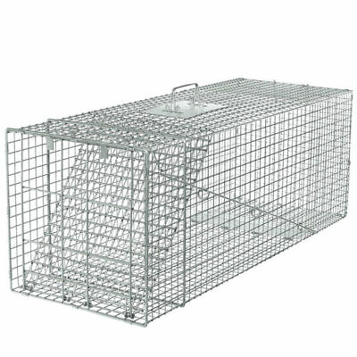 """Steel Animal Trap   32""""x11""""x13"""" Large Cage Spring Loaded Pests Rodents Humane"""