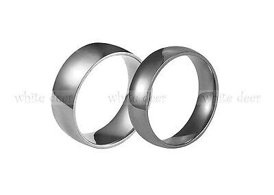 4 6 8 mm Men's Women's Stainless Steel Silver Engagement Wedding Band Ring