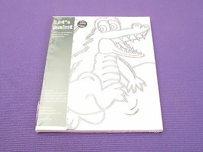 Kids Craft- Let's Paint! Canvas Acrylic Painting Set with Brushes CROCODILE