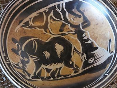 Old African Handmade and Hand Painted Rhinocero Bowl for your African collection