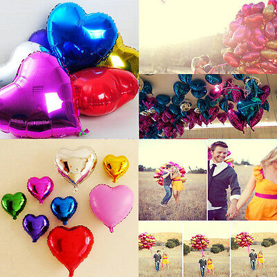 Lot Solid Color  Heart Shape Wedding Birthday Party Helium Foil Balloons 18 Inch