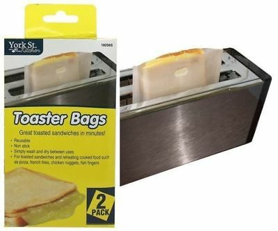 2x Toast Bag Reusable Toaster Sandwich Bags Baking Pouch Toasty Toastie Pockets