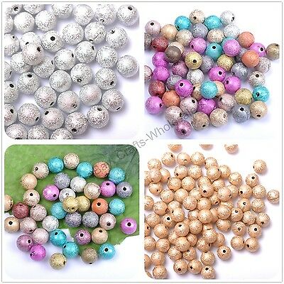 Mixed Stardust Acrylic Round Ball Charms Spacer Beads DIY 4MM 6MM 8MM 10MM 12MM
