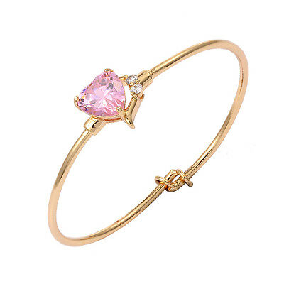 Toddlers Baby Girls 18K Gold Plated Heart Pink Cz Cuff Bangle Bracelet Jewelry