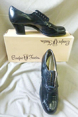 FANCY VTG 20s DECO FLAPPER 30s 40s WW2 BLK LEATHER OXFORD GRANNY SHOES NEW NOS 5