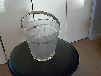 """VINTAGE """"GLASS Barrel frosted ICE BUCKET"""""""