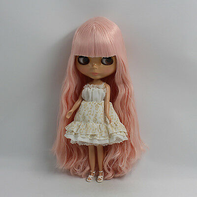 """12"""" Neo Blythe Doll Black Skin from Factory Pink Hair Nude Doll JSW48005"""