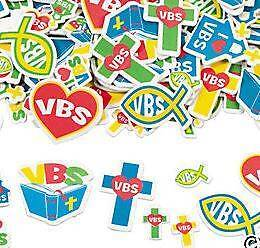 20 I Love VBS Shaped Foam Stickers Colorful! Church Cross Heart More!