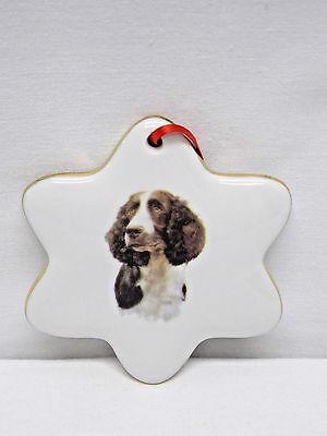 Brittany Spaniel Dog Snowflake Porcelain Christmas Tree Ornament Fired Decal-H
