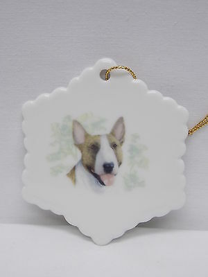 Bull Terrier Brown/White Dog Snowflake Porcelain Christmas Tree Ornament Decal-L