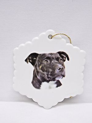 Staffordshire Bull Terrier Black Dog Snowflake Christmas Tree Ornament  Decal H