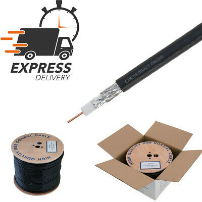 1000FT RG6 Coaxial Cable Wire Dual Shield 18AWG Black Coax Satellite TV