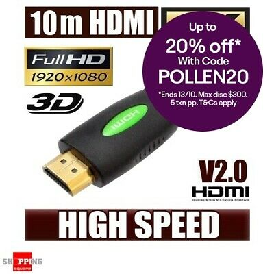 10M HDMI Cable v2.0 3D High Speed with Ethernet HEC Gold Plated 4K Ultra HD