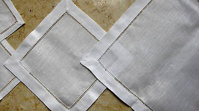 White 100% Cotton or Linen Dinner Napkins - Hemstitch Table Linen Cloth Fabric
