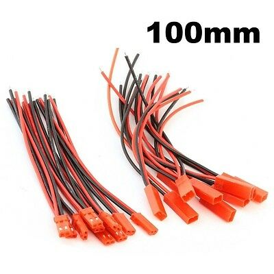 10pairs 100mm JST Connector 2-pin Plug 22AWG Silicone Wire Cable 10CM
