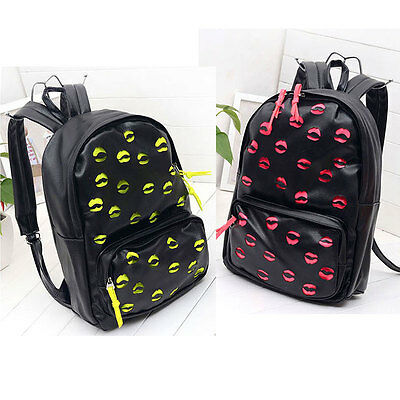 Women Cute Lips Soft PU Leather Hollow Out Backpack School Leisure Travel Bag US