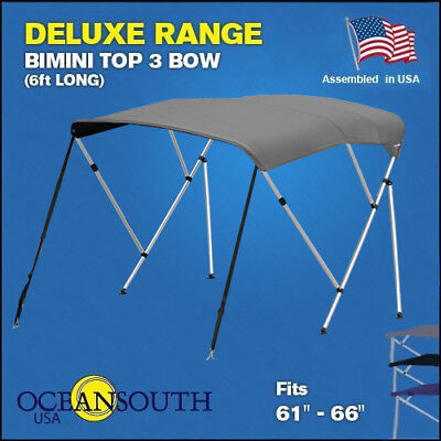"""BIMINI TOP 3 Bow Boat Cover Grey 61""""-66"""" With Rear Poles & Integrated Sock"""
