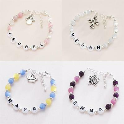 Personalised Bracelet for Girls, Any Name, Any Charm, Any Colour. High Quality