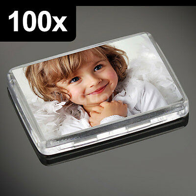 100x Premium Quality Clear Acrylic Blank Photo Fridge Magnets 50 x 35 mm