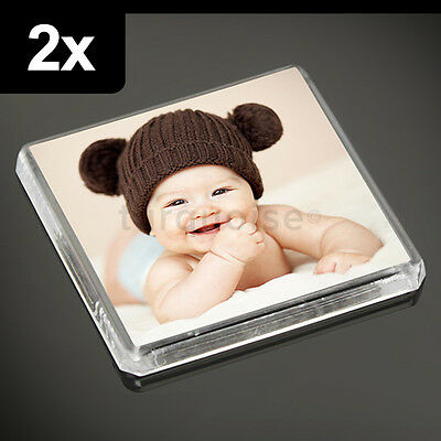 2x Clear Acrylic Blank Fridge Magnets 58 x 58 mm | Square Size Photo
