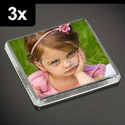 3x Clear Acrylic Blank Fridge Magnets 58 x 58 mm | Square Size Photo