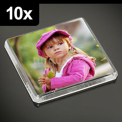 10x Clear Acrylic Blank Fridge Magnets 58 x 58 mm | Square Size Photo