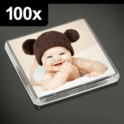 100x Clear Acrylic Blank Fridge Magnets 58 x 58 mm Square Size Photo