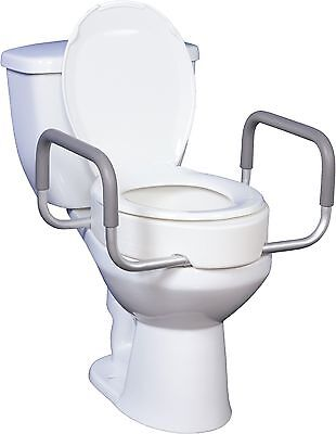 For Elongated Toilets:  Raised Toilet Seat with Removable Arms, Portable,Durable