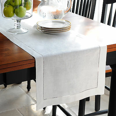 White 100% Cotton or Linen Hemstitch Table Runners - Dining Table Linen Cloth