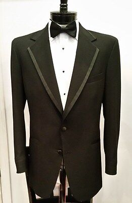 Mens Boys Black Piped Satin Trim Edge Notch Lapel Tuxedo Jacket Prom Chaps