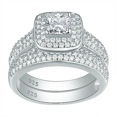 Princess White CZ Sterling Silver Gold Plated Wedding Engagement Ring Set 5-10