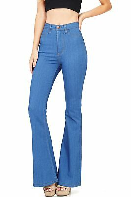 Vibrant New Women's Classic Fit Denim High Rise Flared Bell Jeans Denim USA