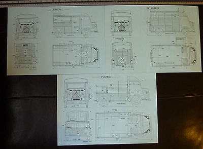 NEW technical drawing Citroen Plateau Forgon Betaillere Total of 3 A3 prints