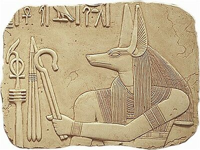 Large Anubis Wall Relief Holding Egyptian King Symbols Stone Fragment E-066S