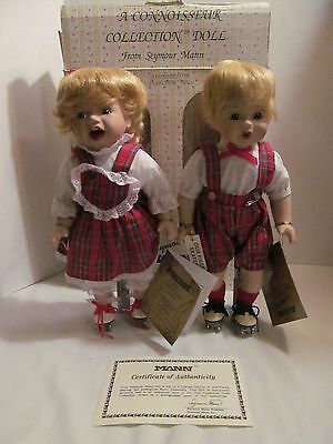 "Porcelain Twin Dolls ""Our First Skates"" Seymour Mann Connoisseur Collection"