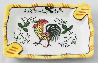 Vintage Ucagco PY Early Provincial Rooster & Roses Small Personal Ashtray