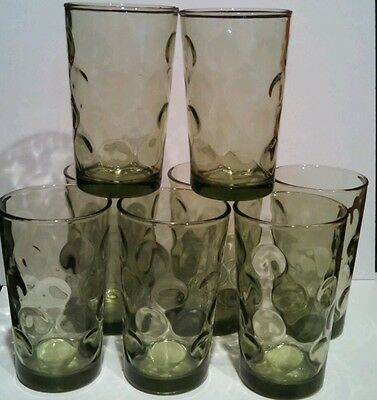 Continental Can Avocado Green Juice Glasses Hazel Atlas Capri Dots - Set of 8!
