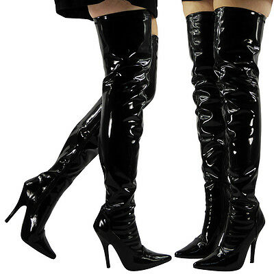 Womens Ladies Over The Knee Thigh High Stiletto Heel Fetish Party Boots Size