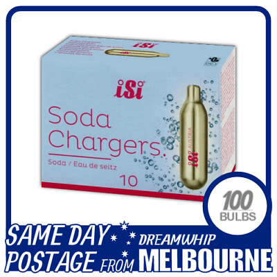 Same Day Postage Isi Soda Chargers 10 Pack X 10 (100 Bulbs) Syphon Co2 Seltzer