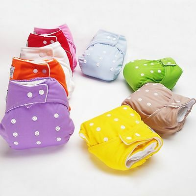 Soft Infant Reusable Nappy Cloth Diapers Washable Size Adjustable Covers 7Colors