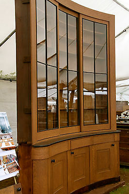 """UNIQUE c1840 bowed built in LIBRARY cabinet 10'h x 87"""" across ASHER BENJAMIN"""