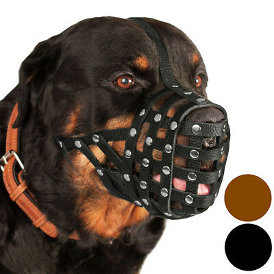"Rottweiler Dog Muzzle Secure Genuine Leather Basket 16""- 4"" Black Brown"