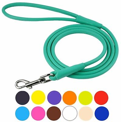 Rolled Leather Dog Leash Round Traffic Lead 4 or 6 foot Brown Black Pink Purple