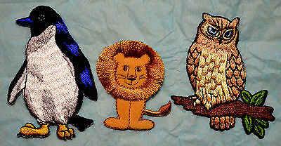 Animals Penguin Lion Owl Embroidered Motif Iron/sew On Patch Badge Embroidery