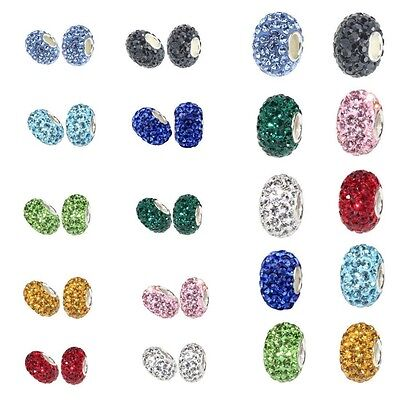 925 sterling silver Charms Crystal Ball Beads Fit 3mm European Bracelet Big Hole