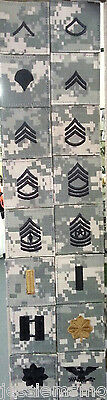US Army ACU Rank E-1 THRU O-6 Uniform Patch New WITH HOOK FASTENER