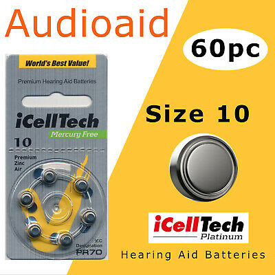 60pc Hearing aid Batteries Size 10 (PR70, A10) - Long Expiry 2021