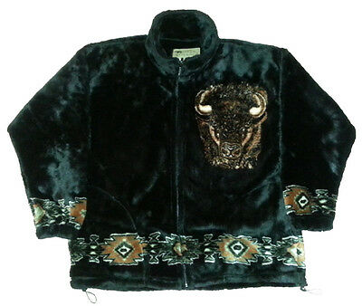 Bison Buffalo Native American Plush Fleece Jacket (XS - 2X)