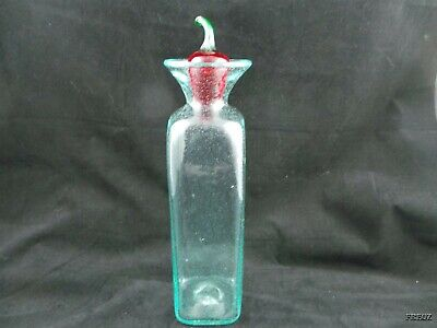 Tall Blue'ish Bottle with a Glass Chile Pepper Stopper