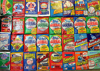 Old Baseball Cards Unopened Packs fr Wax Box. Vintage 45 Card Lot